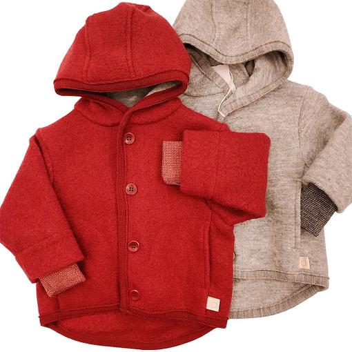 Cappotto in lana cotta bordeaux e grigio