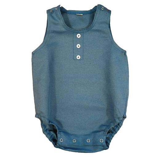 Pagliaccetto lino cotone blu