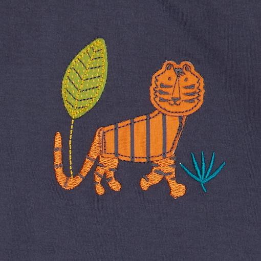 Felpa reversibile leggera blu tigri dettaglio