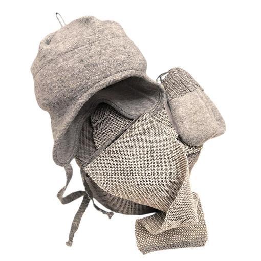 Cappellino in lana cotta set grigio