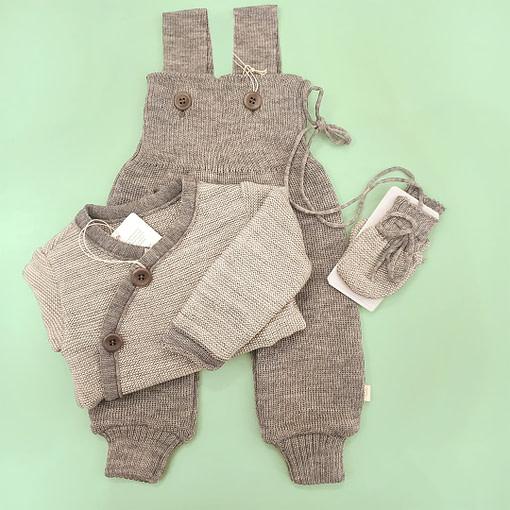 Salopette in lana merino grigio