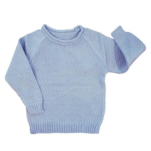 Maglioncino cotone bio lavorato a maglia azzurro