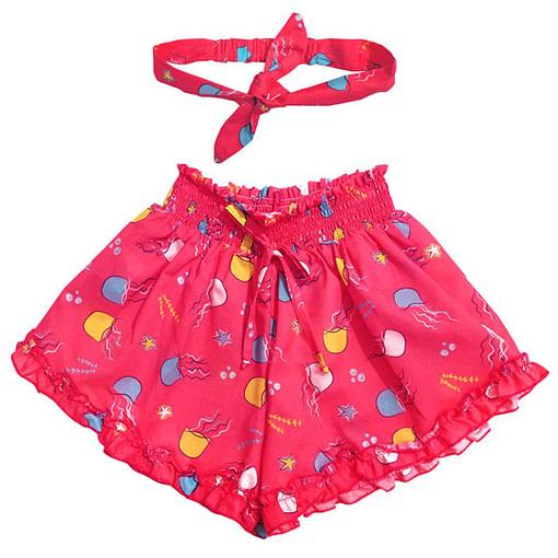 Pantaloncini con balzine fantasia meduse fucsia