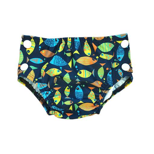 Costumino contenitivo fantasia pesci fondo blu