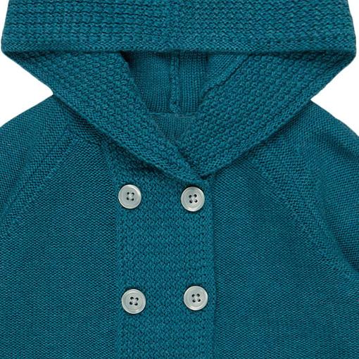 Giacchina con cappuccio in maglia di cotone bio dettaglio