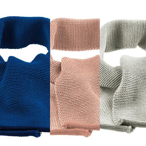 Sciarpine in pura lana merino rosa grigio e blu brillante