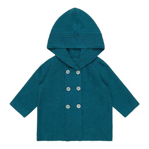 Giacchina con cappuccio in maglia di cotone bio