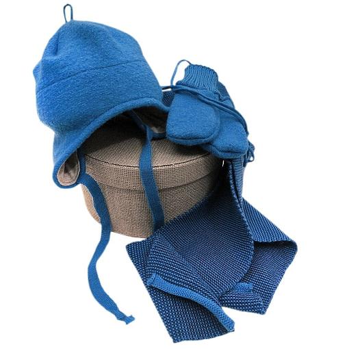Cappellino in lana cotta set blu brillante