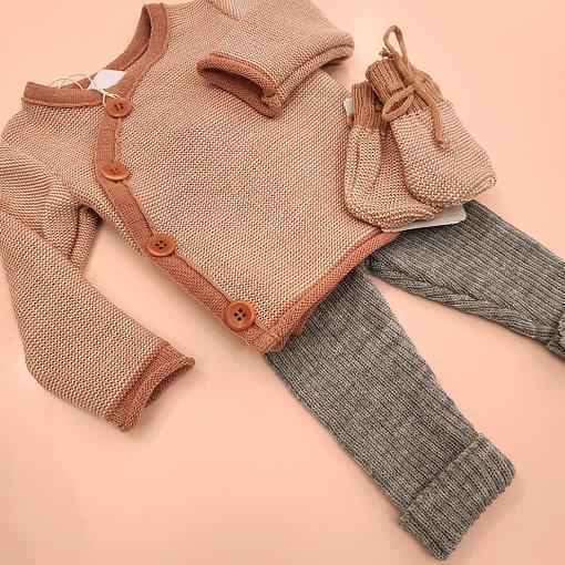 Completino giacchina lana merino rosa