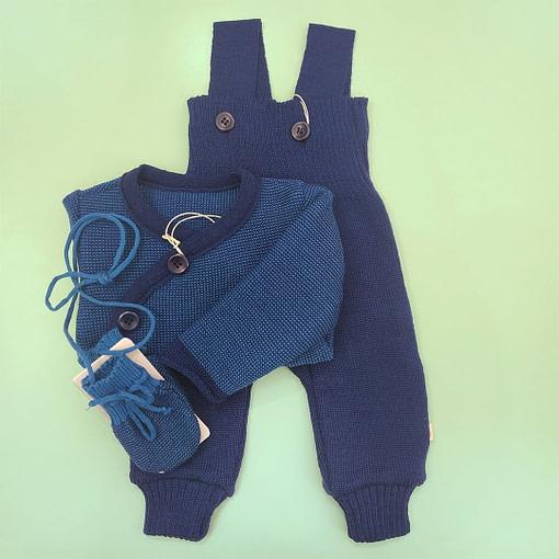 Salopette in lana merino blu
