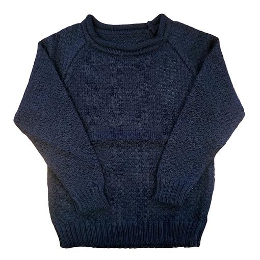 Maglioncino in cotone bio lavorato a maglia blu