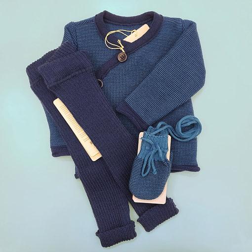 Completino giacchina lana merino blu