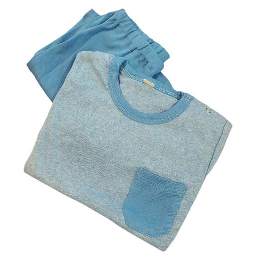 Pigiamino corto azzurro in cotone bio