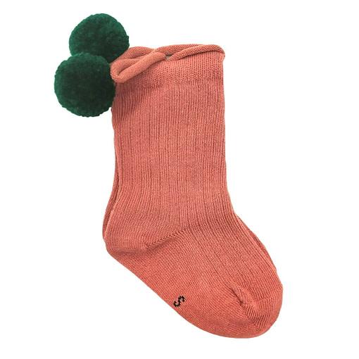 Calzine con pompon in cotone bio rosa