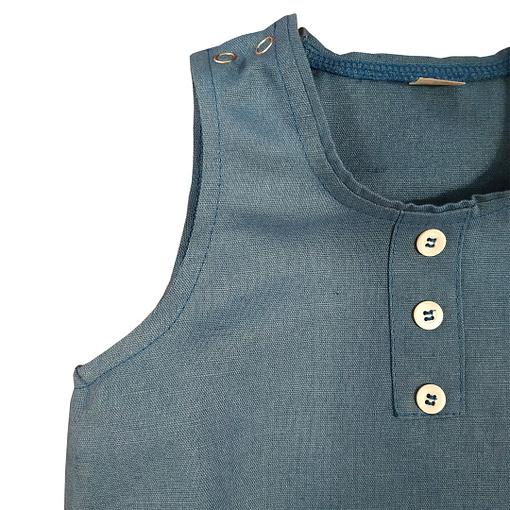 Pagliaccetto lino cotone blu 2
